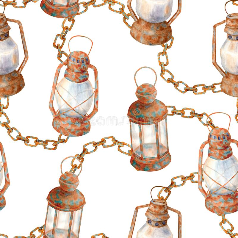 Free Watercolor Old Rusty Lamps And Chain Seamless Pattern. Hand Drawn Vintage Kerosene Lanterns With Chain Links Isolated On White Stock Photo - 191980280