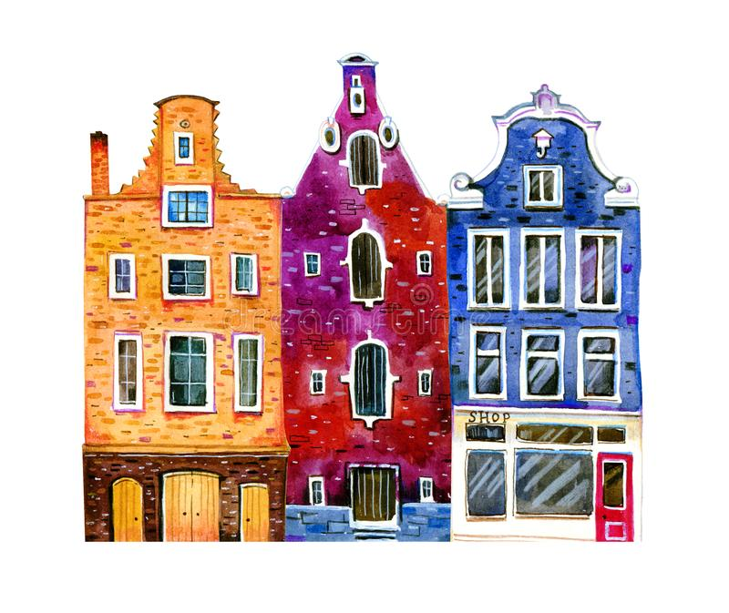 Watercolor old stone europe houses. Amsterdam buildings. Hand drawn cartoon illustration. Watercolor old stone europe houses. Amsterdam street view - facades vector illustration