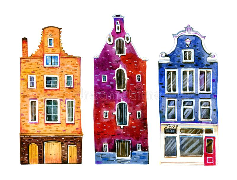 Watercolor old stone europe houses. Amsterdam buildings separated in row. Hand drawn cartoon illustration. On white background royalty free illustration