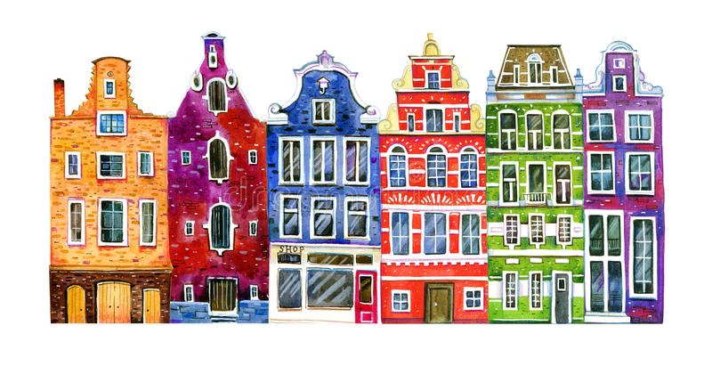 Watercolor old stone europe houses. Amsterdam buildings. Hand drawn cartoon illustration royalty free illustration