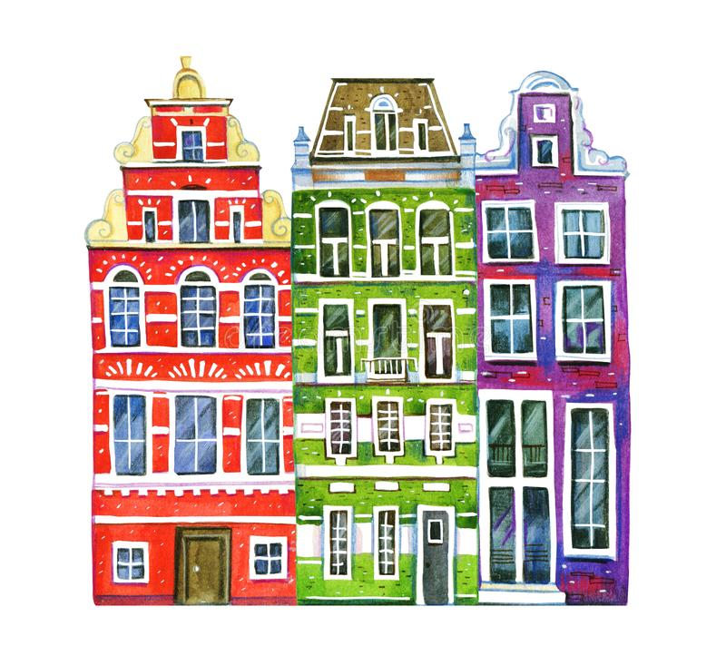 Watercolor old stone europe houses. Three Amsterdam buildings - facades. Hand drawn cartoon illustration. On white background vector illustration