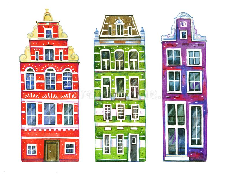 Watercolor old stone europe houses. Three Amsterdam buildings separated in row. Hand drawn cartoon illustration vector illustration
