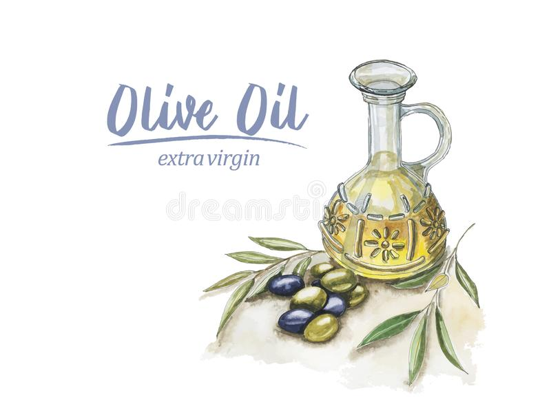 Watercolor olive oil stock image