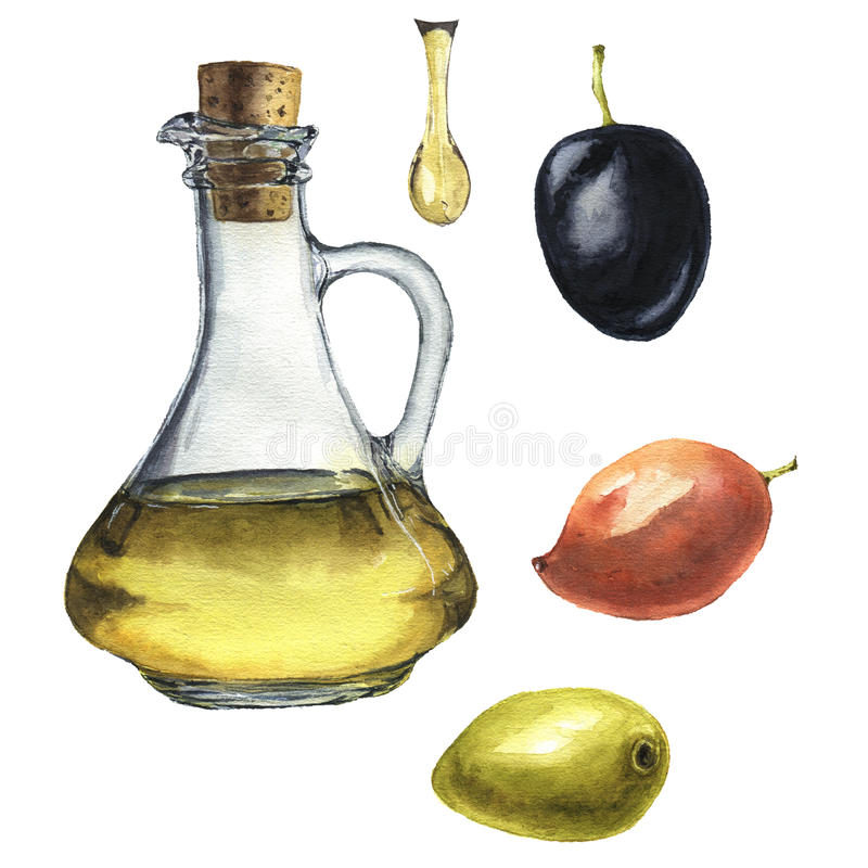 Watercolor olive set: olive oil, olives and drop of olive oil isolated on white background. Food illustration for design. Background or fabric stock illustration