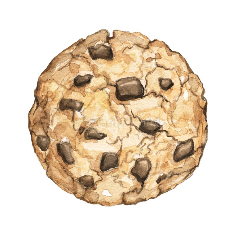 Free Watercolor One Chocolate Chip Cookie Royalty Free Stock Image - 182074156