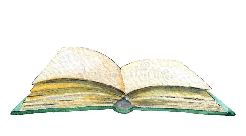 Watercolor open book royalty free illustration