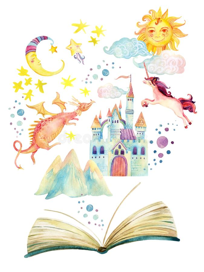 Watercolor open book with magic world isolated on white background. The whole fairy tale in book: stars, moon, sun, magic castle, dragon, unicorn. Hand painted royalty free illustration
