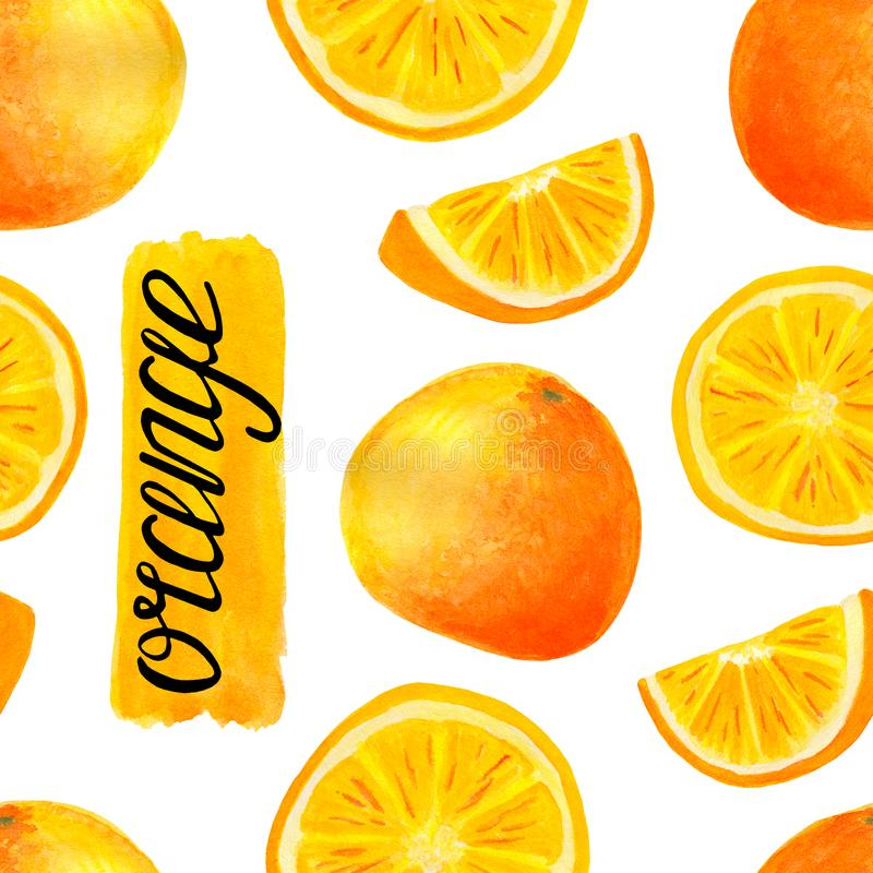 Watercolor orange fruit seamless pattern. Hand painted citrus slices with lettering calligraphy isolated on white background for vector illustration