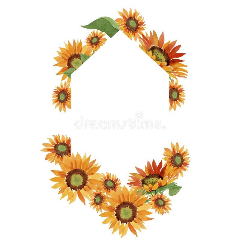 Watercolor orange sunflower flower. Floral botanical flower. Frame border ornament square. Aquarelle wildflower for background, texture, wrapper pattern, frame royalty free stock image