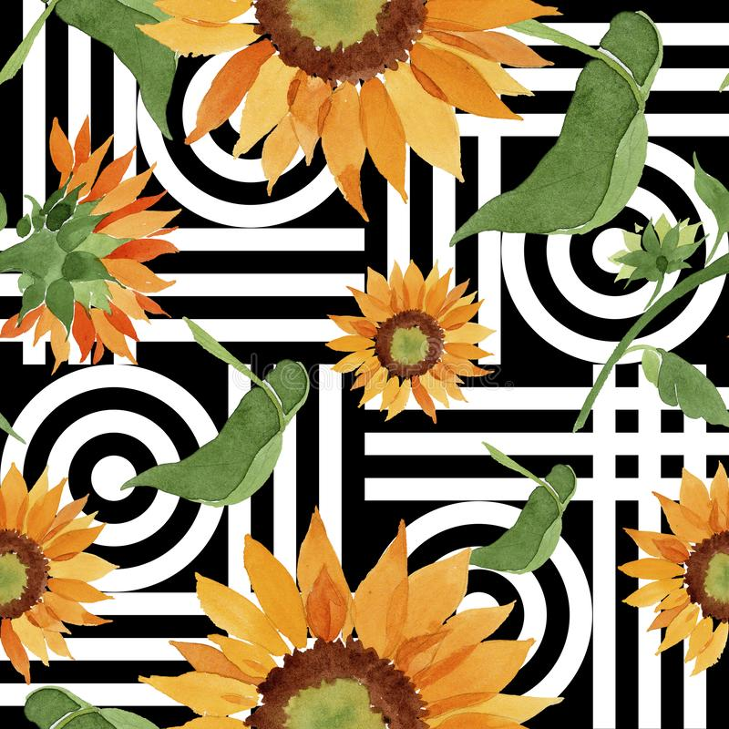 Watercolor orange sunflower flower. Floral botanical flower. Seamless background pattern. stock illustration