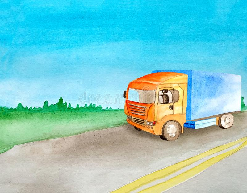Watercolor orange truck carries cargo on an asphalt road against the background of the daytime summer landscape. For logistics royalty free illustration