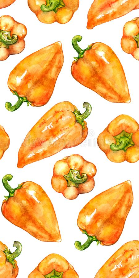 Watercolor orange yellow sweet bell Bulgarian pepper vegetable seamless pattern texture background.  stock illustration