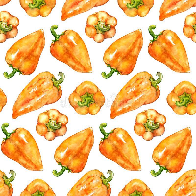Watercolor orange yellow sweet bell Bulgarian pepper vegetable seamless pattern texture background.  royalty free illustration