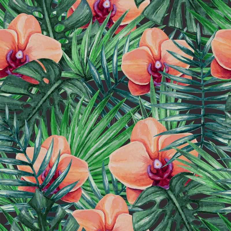 Watercolor orchid flower and palm leaves seamless pattern. stock illustration