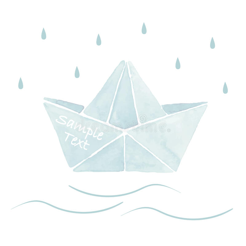 Download Watercolor Origami Boat Stock Vector Illustration Of Blue