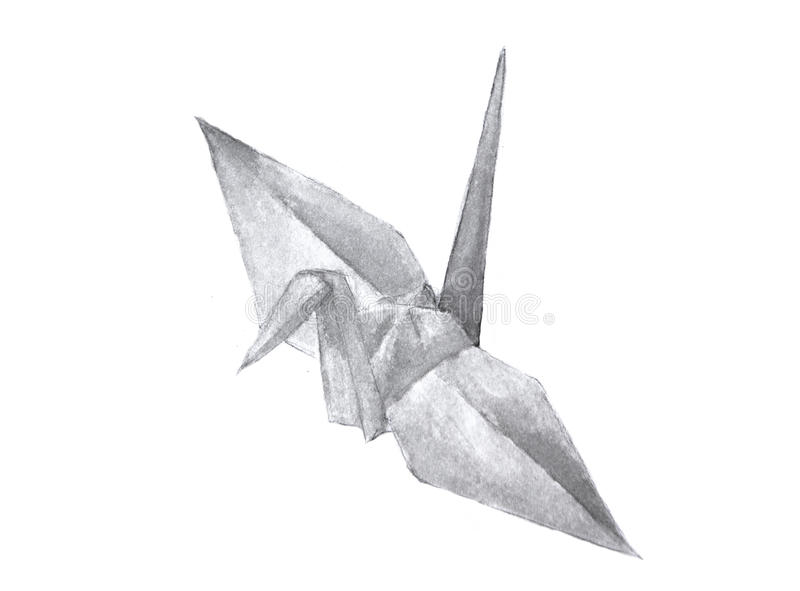 Download Watercolor Of Origami Crane Stock Illustration