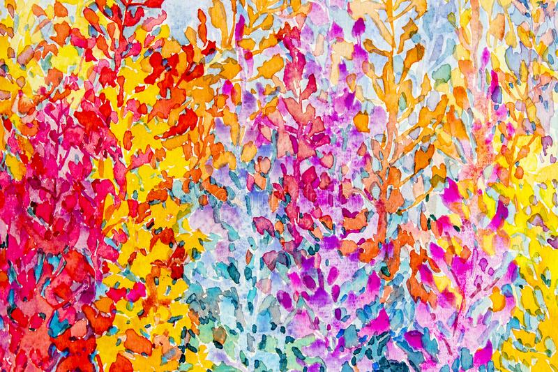Watercolor original painting colorful bunch of abstract flowers stock illustration