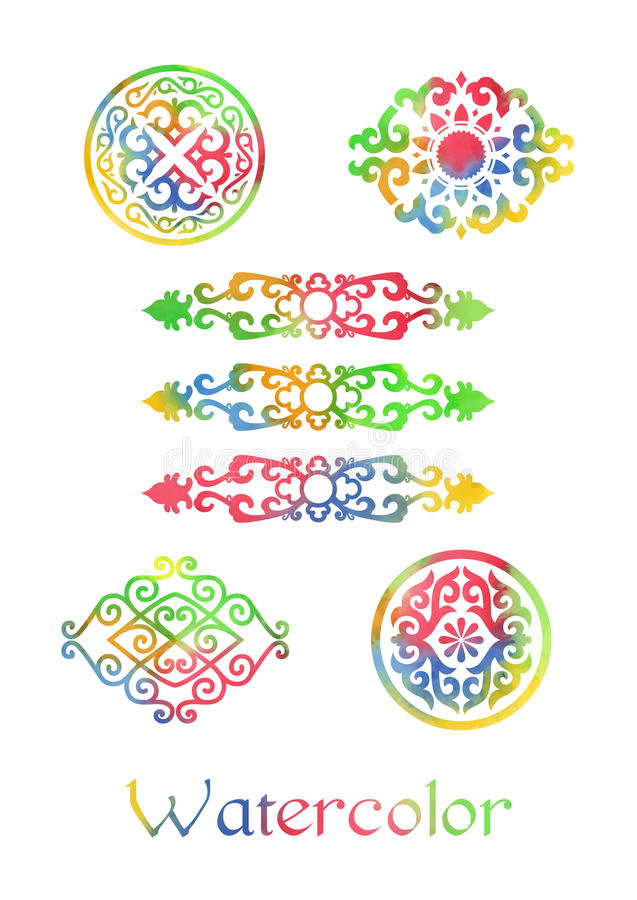 Watercolor Ornaments. Watercolor ornamental elements in vector. Asian style stock illustration