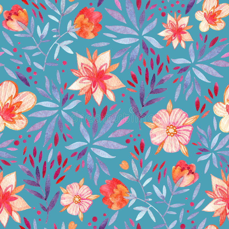 Watercolor ornate flowers seamless pattern. stock illustration