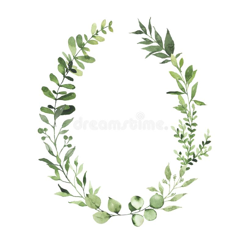 Free Watercolor Oval Wreath With Greenery Leaves Branch Twig Plant Herb Flora Isolated Royalty Free Stock Photos - 175029858