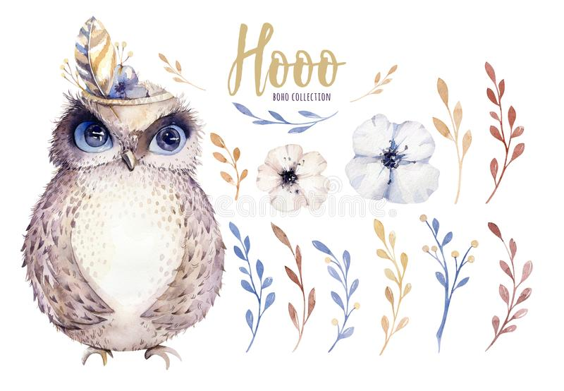 Watercolor owl with flowers and feather. Hand drawn isolated illustration with bird in boho style. Nursery printable royalty free illustration