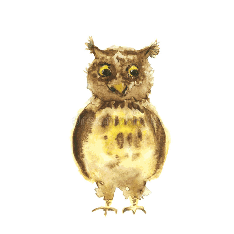 Watercolor owl royalty free illustration