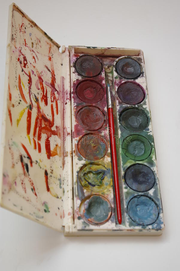 Watercolor paint box. Watercolor paint and brush in box stock photos