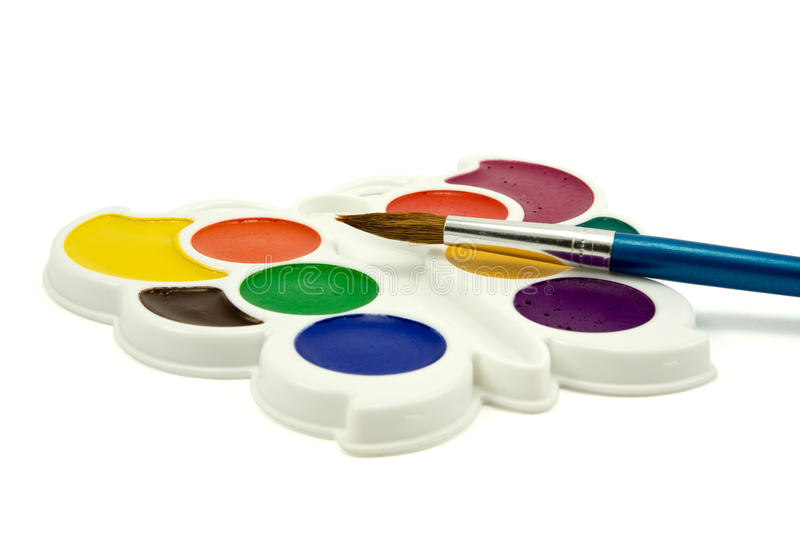 Watercolor Paint With Brush Royalty Free Stock Photography