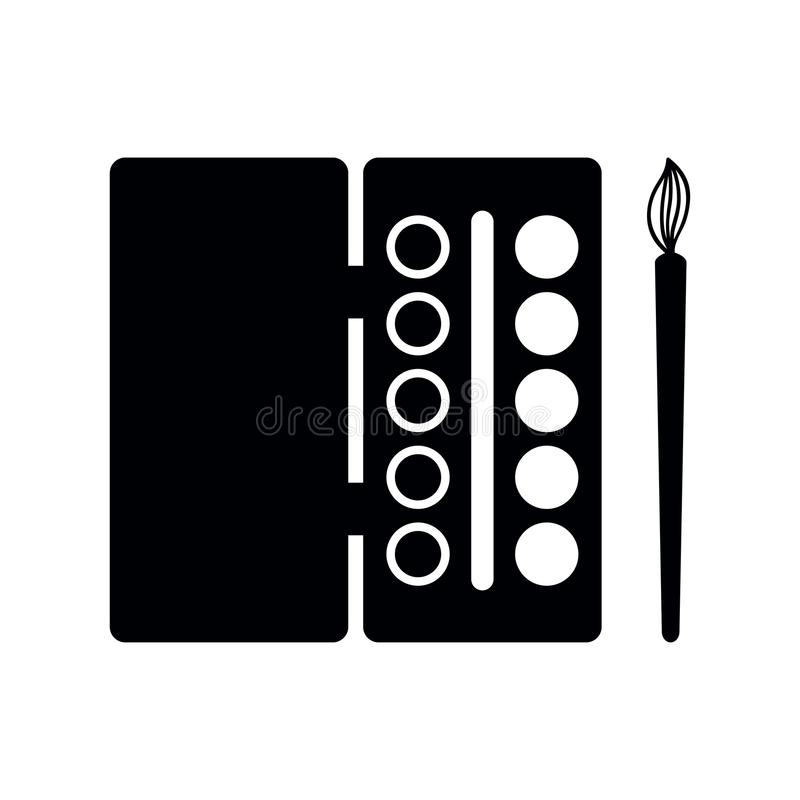 Watercolor paint and brush icon black silhouette vector isolated stock illustration