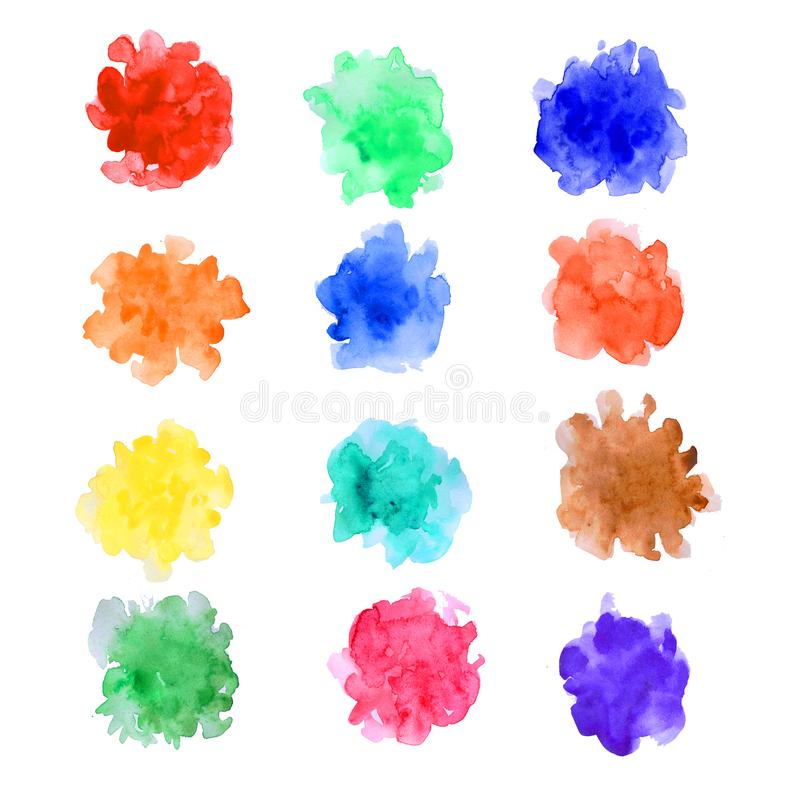 Watercolor paint dab isolated on white background. Abstract free designs clip art background. Paint splashes with color mixture. Overflow on white paper for web stock illustration
