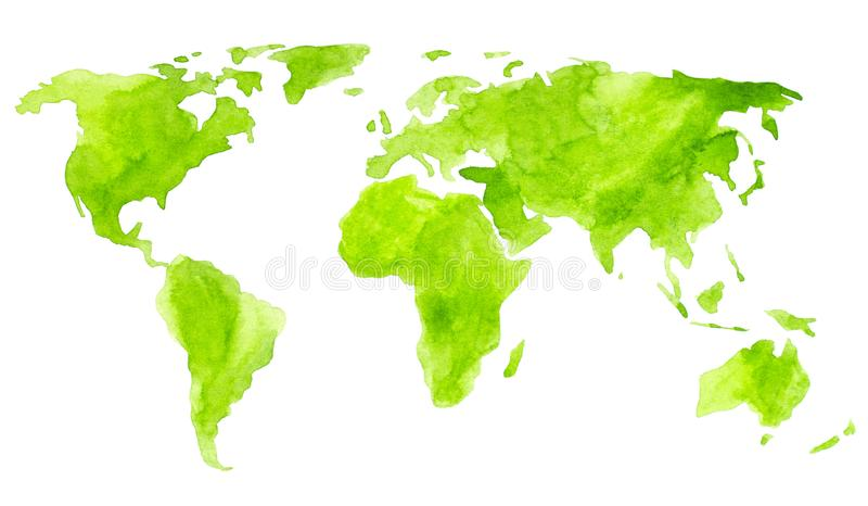 Watercolor paint green world map isolated on white for Your design. Watercolor paint green world map isolated on white vector illustration