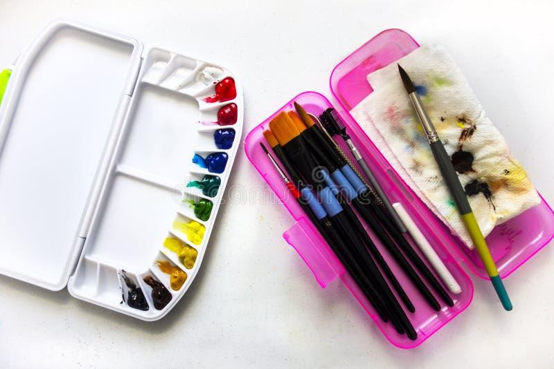 Watercolor Paint Palette stock photos