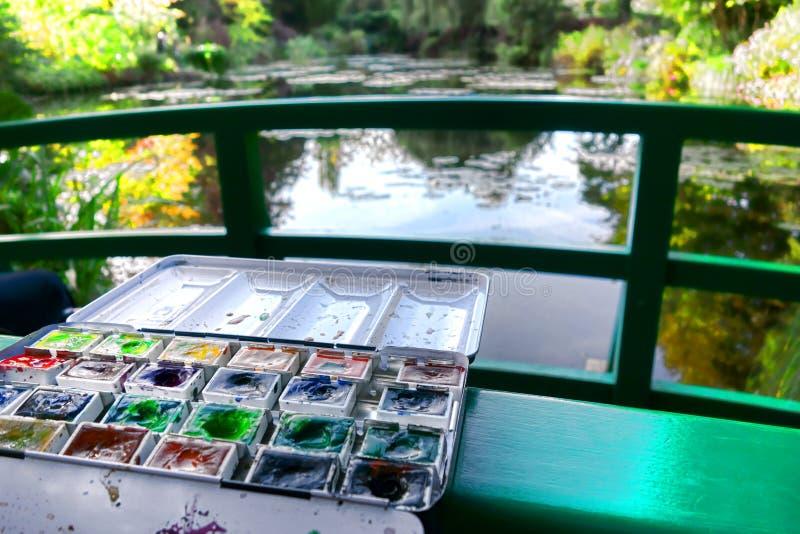 Watercolor Paint Set in Famous Painter Garden stock photos
