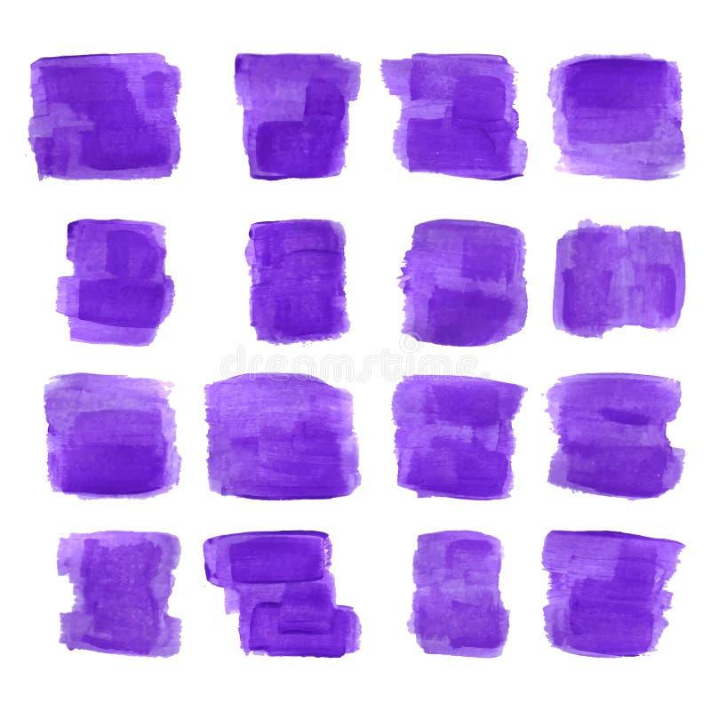 Watercolor paint stains. Gouache spots. stock illustration