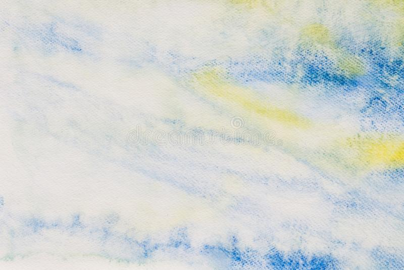 Watercolor painted background texture: white, blue and yellow. Colors stock image