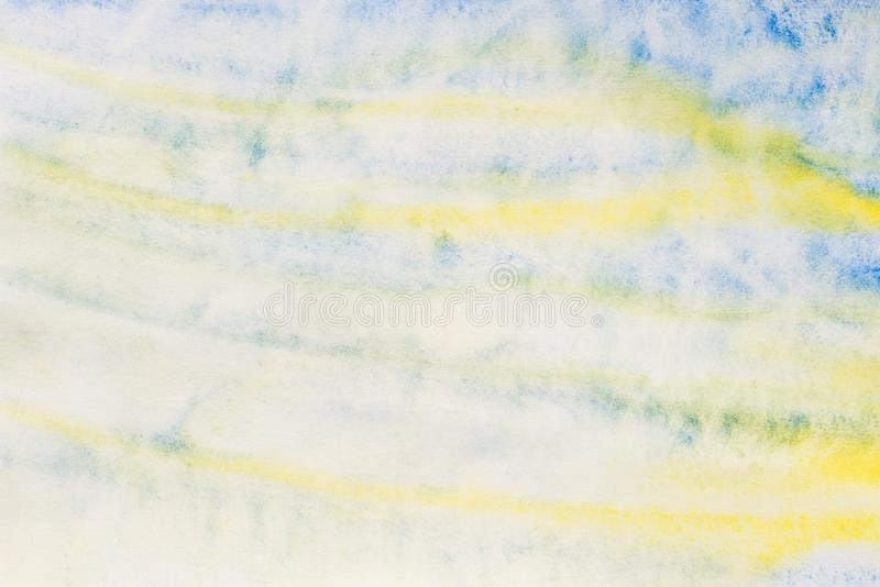 Watercolor painted background texture: white, blue and yellow. Colors stock images