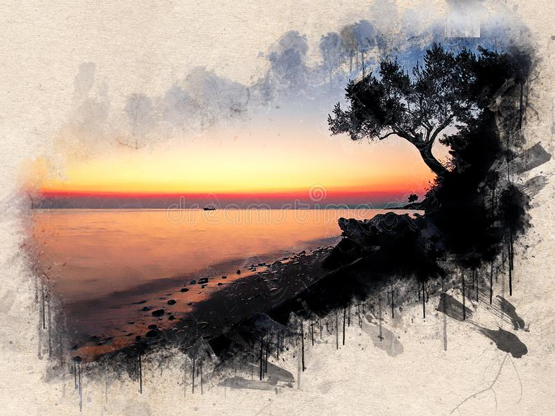 Watercolor painted beach, sunset, orange sky, rocks and trees stock illustration