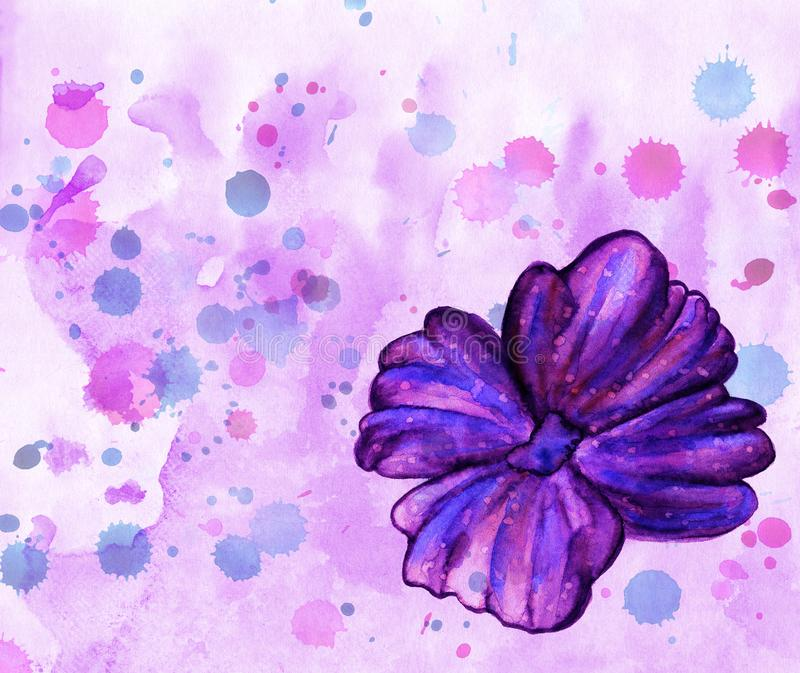 Watercolor painted beautiful flower bright violet purple illustration. Colorful texture floral background royalty free illustration