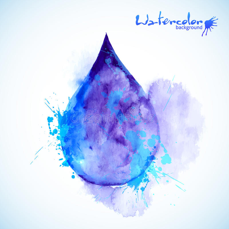 Watercolor painted blue vector drop stock illustration