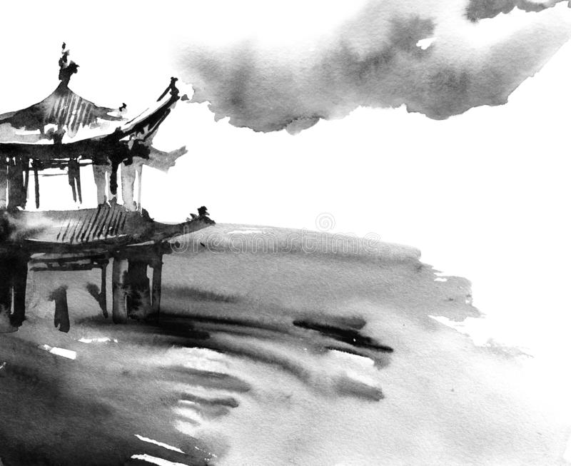 Watercolor painted chinese landscape. Watercolor and ink illustration of chinese landscape with pagoda in style sumi-e, u-sin. Traditional asian architecture royalty free stock images