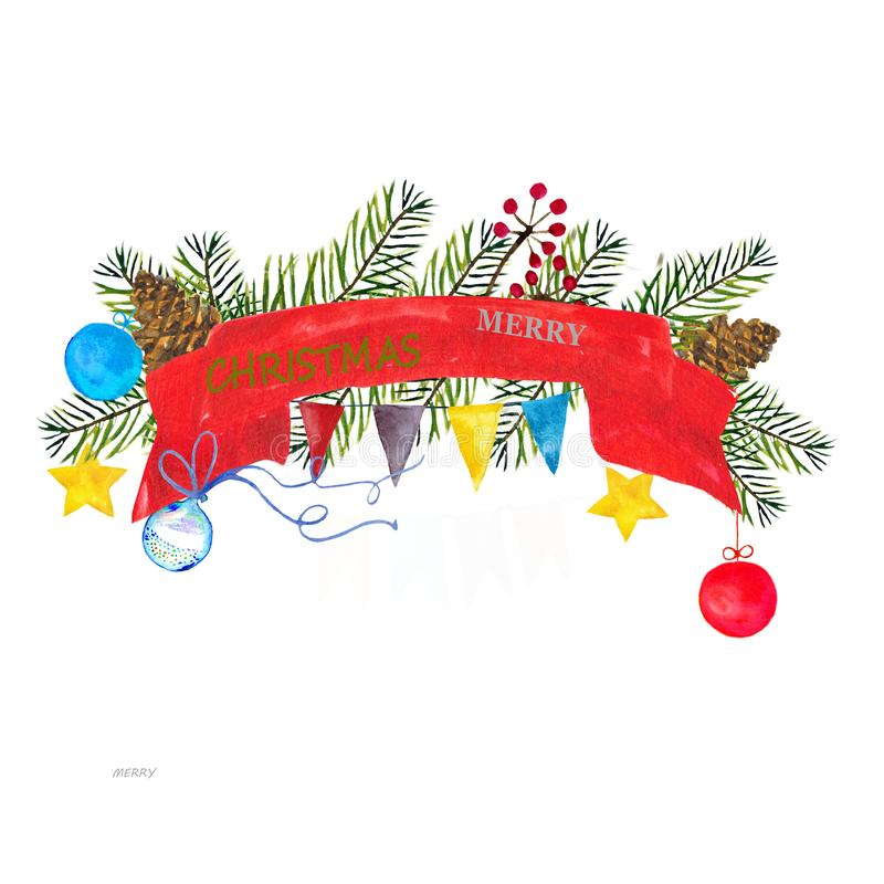 Watercolor painted Christmas square frame with red and blue balls and yellow stars, with pine cones and Christmas tree. Branches for invitations and greeting stock illustration