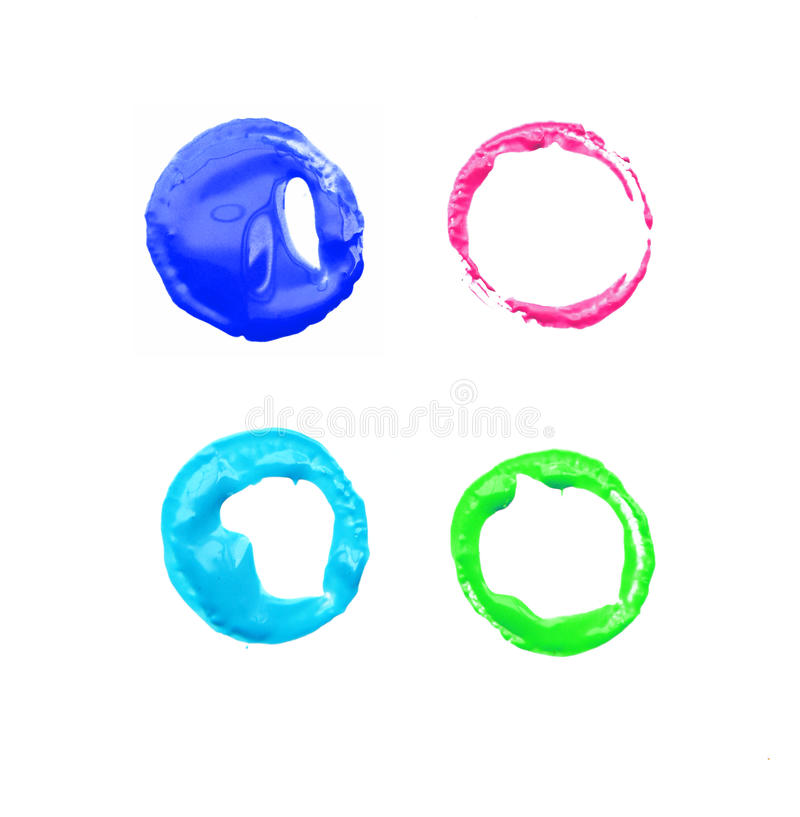 Watercolor painted circle shape on white background stock illustration