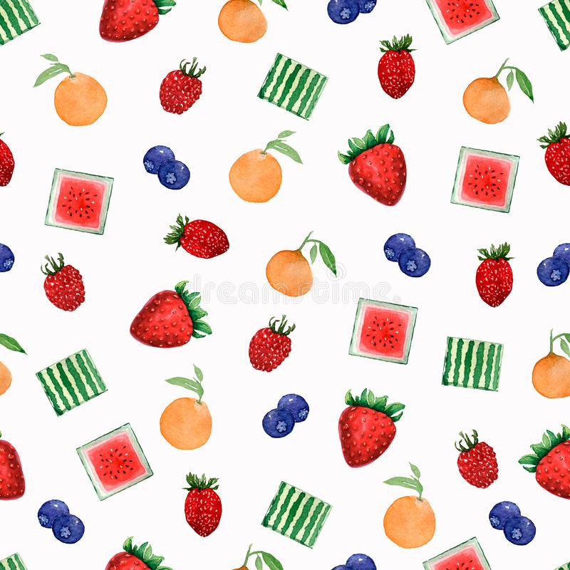 Watercolor painted pattern of fruits. Hand drawn fresh food design elements isolated on white background. vector illustration