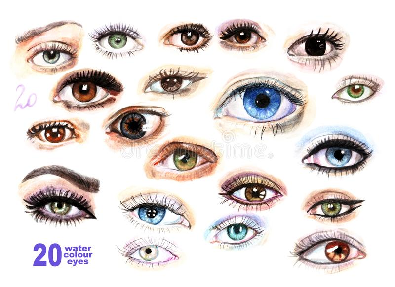 20 watercolor painted eyes of different colors with makeup, eyelashes, highlights set. royalty free illustration