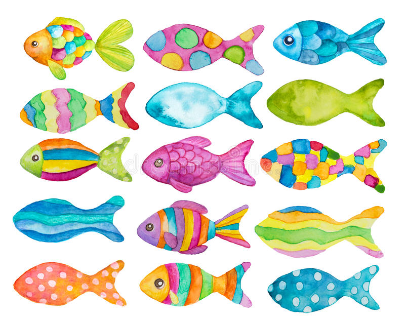 Watercolor painted fishes. Set of watercolor painted fishes vector illustration