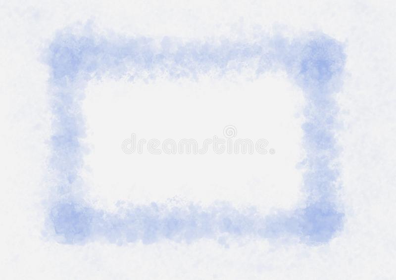 Watercolor painted frame of blue color for design with many small blotches around, artwork element vector illustration