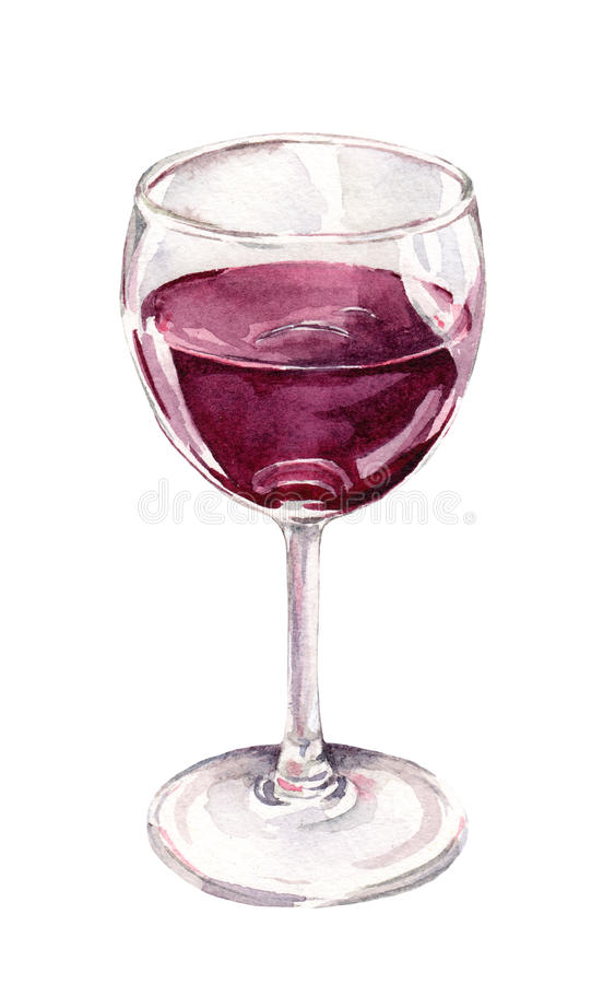 Watercolor painted glass of red wine. Aquarelle stock image