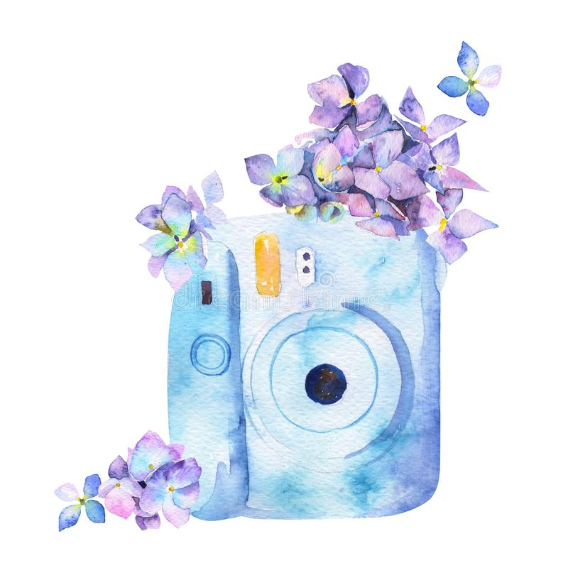 Watercolor painted picture of a vintage photocamera royalty free stock photos