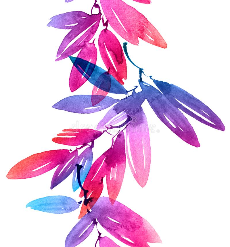 Watercolor painted pink and blue rainbow tree leaves. Watercolor and ink illustration of pink and blue tree leaves in decorative style. Natural background for stock photography