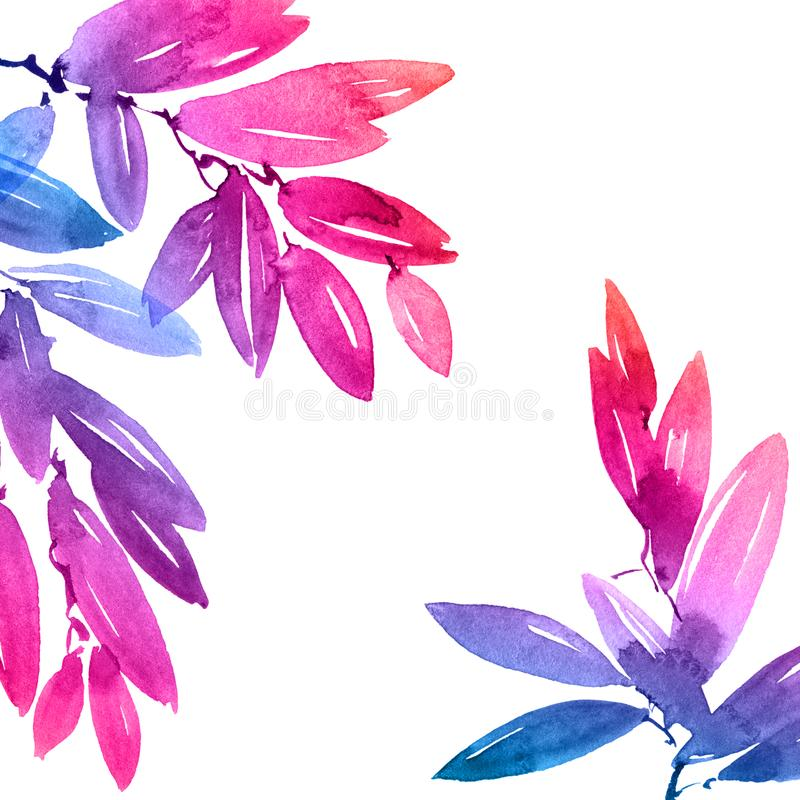 Watercolor painted pink and blue rainbow tree leaves. Watercolor and ink illustration of pink and blue tree leaves in decorative style. Natural background for royalty free stock images